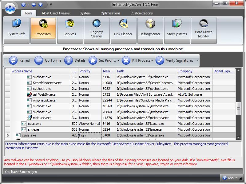 EnhanceMySe7en - Maintenance and tweaking tool for Windows 7