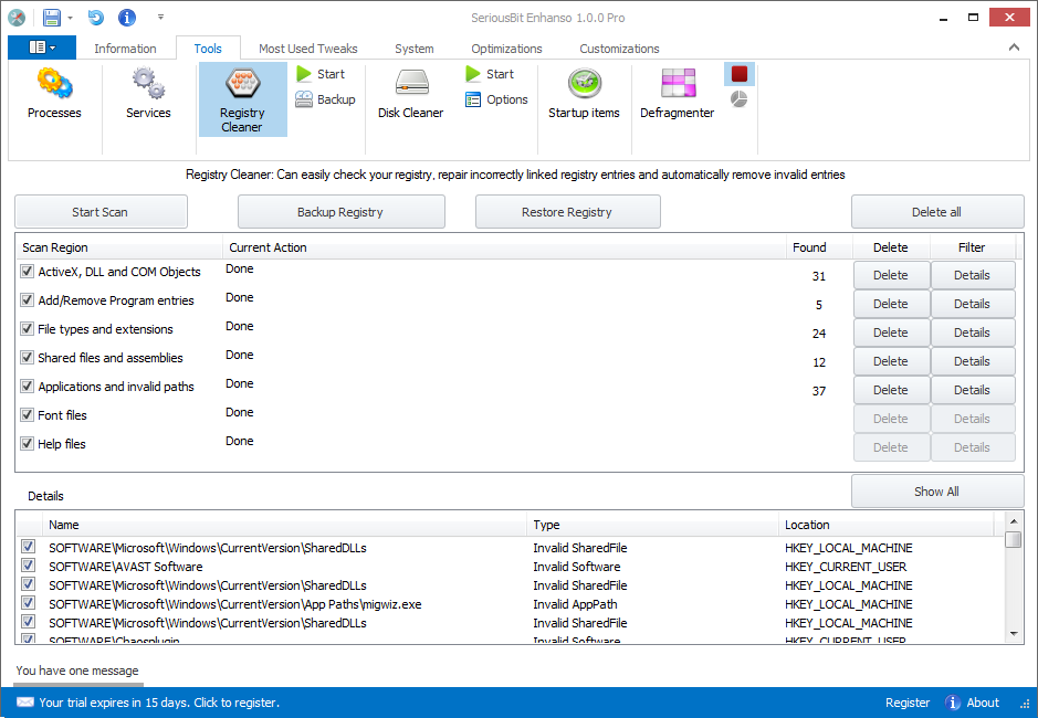 Enhanso - Maintenance and tweaking tool for Windows Vista, 7 and 8